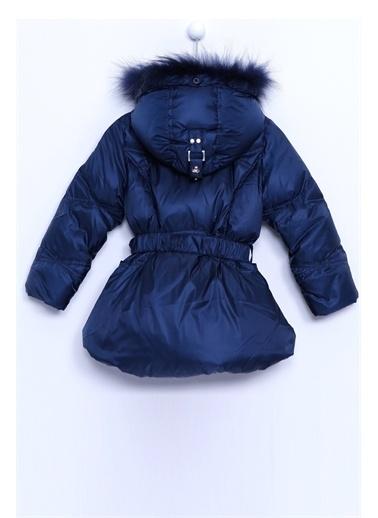 Silversun Kids Kürklü Şapkalı Kemerli Şişme Kız Çocuk Mont Mc 8146 Lacivert